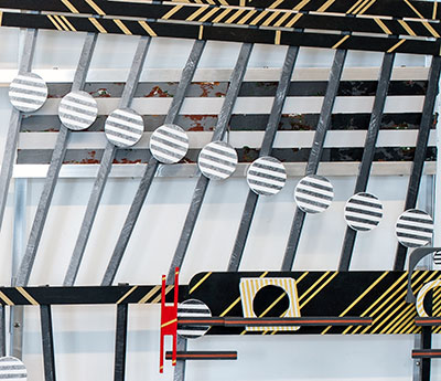 Constructed Sculpture of streched canvas, digital canvas prints, aluminum, and wood. 71.5 inches wide by 65.25 inches high.